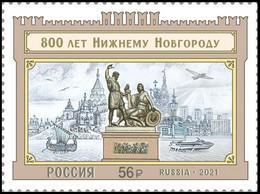 RUSSIA 2021 Stamp MNH VF ** Mi 2982 NIZHNY NOVGOROD 800 SHIP HOVERCRAFT CUSHION AIR HYDROFOIL MONUMENT ARCHITECTURE 2758 - Nuovi