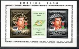 Burkina Faso Block 155 156 157 Mnh ** Auto Car Voiture Silber Gold Silver Ayrton Senna Prost Schumacher Grand Prix - Burkina Faso (1984-...)