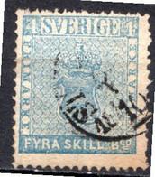 SUEDE - 1855 - N° 2 - 4 S. Bleu - (Armoiries) - Oblitérés