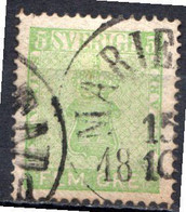 SUEDE - 1858-70 - N° 6 - 5 O. Vert-jaune - (Armoiries) - Oblitérés