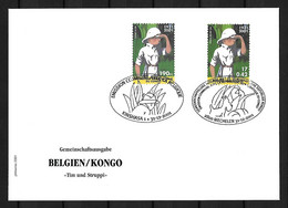 2001 Joint Belgium And Congo, MIXED FDC WITH BOTH STAMPS: Tintin In Congo ONLY 130 COPIES - Emisiones Comunes