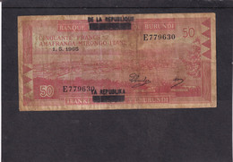 Burundi 50 Fr 1965  Overprint  Republique  Sur  Royaume - Otros – Africa