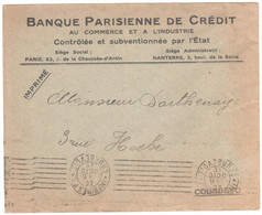 IMPRIMES P.P. COURBEVOIE Lettre Ob Meca KRAG Ob 31 10 1927 MOIS A L'ENVERS Entête Banque Parisienne De Crédit - Annullamenti Meccaniche (Varie)