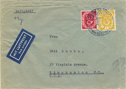 ALLEMAGNE / DEUTSCHLAND - 1953 Posthorn 20pf & 70pf. Mi.130 & 136 Auf Luftpost Umschlag Nach USA - Covers & Documents
