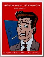 SUPERBE PIN'S SAGGAY : VISUEL PERSONNAGE BD, Signé W MIDUS émaillé Grand Feu Base Noire, Format 3,8X4,2cm - Fumetti