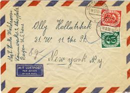 ALLEMAGNE / DEUTSCHLAND - 1953 Posthorn 10pf & 80pf Mi.128 & 137 Auf Umschlag Aus Waldsassen Nach New-York, USA - Cartas
