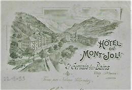 74 - Saint-Gervais-les-Bains - CPA Précurseur 1899 - Hôtel Du Mont Joly Tenu Par Numa Allantaz - Litho Muller - écrite - Saint-Gervais-les-Bains