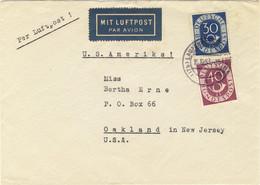 ALLEMAGNE / DEUTSCHLAND - 1953 Posthorn 30pf & 40pf Mi.132 & 133 Auf Luftpost Umschlag Nach USA (Rückenklappe Fehlt) - Cartas