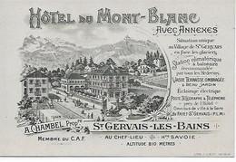 74 - Saint-Gervais-les-Bains - Carte De Visite Litho 1900 - Hôtel Du Mont-Blanc - Propr. A. Chambel - Dos Vierge Scanné - Saint-Gervais-les-Bains
