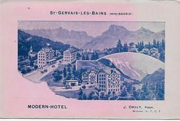 74 - Saint-Gervais-les-Bains - Modern-Hôtel - Orset Propriétaire, Membre Du T.C.F. - Verso Scanné - Saint-Gervais-les-Bains