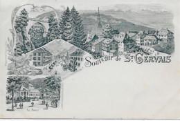 74 - Saint-Gervais Les-Bains - CPA Multi-vues  Souvenir De St-Gervais - Gravure De H. Guggenheim - Saint-Gervais-les-Bains