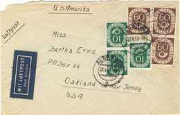 ALLEMAGNE / DEUTSCHLAND - 1953 Posthorn 10pf (x3) & 60pf (x3) Mi.128 & Mi.135 (beschädigt) Auf Luftbrief Nach USA - Covers & Documents