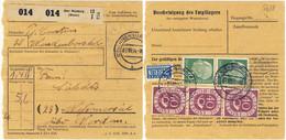 ALLEMAGNE / DEUTSCHLAND - 1954 Posthorn 40pf (x3), Heuss 10pf (x2) & Berlin 2pf Mi.133, 183 & Mi.6Z Auf Paketkarte - Cartas