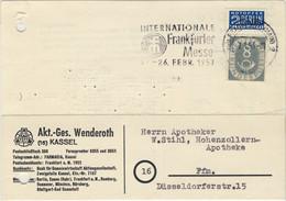 ALLEMAGNE / DEUTSCHLAND - 1953 Posthorn 8pf Mit Notopfer Berlin 2pf Mi.127 & Mi.6 Auf Frankfurter Ortspostkarte - Brieven En Documenten