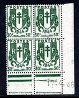 YT-N°: 671 - CHAÎNES BRISÉES, Coin Daté Du 17.04.1946, Galvano A De A+A', 4e Tirage, NSC/**/MNH - 1940-1949