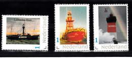 """Nederland Persoonlijke Zegel  Vuurtoren , Lighthouse: Lichtschip """"Maas""""+ Noord Hinder+ Pierres Noires Bretagne - Faros"""