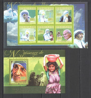 BC405 2010 GUINEE GUINEA FAMOUS PEOPLE MOTHER TERESA 100TH ANNIVERSARY 1KB+1BL MNH - Mother Teresa