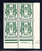 YT-N°: 671 - CHAÎNES BRISÉES, Coin Daté Du 07.02.1945, Galvano A De A+A', 1er Tirage, NSC/**/MNH - 1940-1949