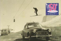F51 Cpa / CARTE Painter Painting CPM Advertising Card Cart' Com CART SAINT LARY (65) Ski AUTOMOBILE  ANNIVERSAIRE - Otros Municipios