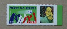 """P1-M5 : Sport - Football, Merci Les Bleus Avec Une Vignette """"Fleurs"""" (autoahésif / Autocollant) - Personnalisés"""