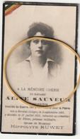 ARMEE BELGE - Aline  Sauveur - Infirmière - Guerre 1914 - 1918 - Obituary Notices