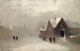 Illustrateur Signé Paysage Hivernal Village Sous La Neige TUCK 'S - Paintings