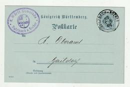 """Wuerttemberg - 1906 - Dienstpostkarte (Druckdatum 10 5 5) K1 """"SULZBACH"""" (2425) - Wurtemberg"""