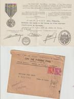 Anciens Combattants De Verdun Lettre Et Certificat D'ins. De Duret L.(LAIVES 71) Au Livre D'or Des Combattants De VERDUN - Documents Historiques