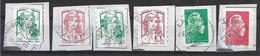 2013-18 FRANCE Adhesif 851-58+ 1214-15+ 1598-99 Oblitérés, Mariannes Ciappa Et YZ, Côte 4.80 - Adhesive Stamps