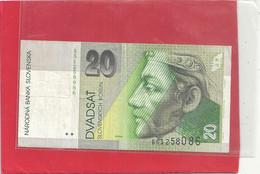 NARODNA BANKA SLOVENKA . 20 KORUN .  Issue 1-9-1993 . N° B51258086 - 2 SCANES - Slovakia