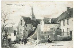 CPA - 02 - CONNIGIS - L'Ecole Et L'Eglise - - Otros Municipios