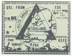 QSL, Netherlands, Map Of The Country, Home Made Card(?), 1985. - Radio Amateur