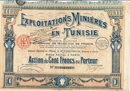TUNISIE. MINIERE EN TUNISIE. EXPLOITATIONS ...  Capital 12 MF    DECO - Sonstige
