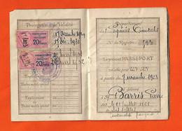 1928 Passeport De Pierre Barris De Las Illas-Le Boulou  Négociant 66 & 2 Timbres Fiscaux 20f Renouvellement Passeport - Documentos Históricos