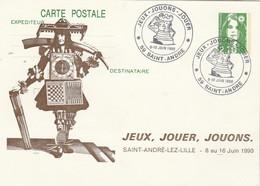Jeux échecs - Entier Postal Carte Repiquage Cachet Illustré Jeux Jouons Jouer  SAINT ANDRE LEZ LILLE Nord 9 10/6/1990 - Echecs