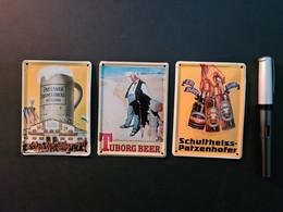 3 Mini-Blechreklameschilder Schultheiss-Patzenhofer, Tuborg Und Paulaner (neu) - Plaques En Tôle (après 1960)