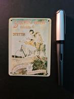 1 Mini-Blechreklameschild Stoewer's Greif-Fahrräder Stettin (neu) - Plaques En Tôle (après 1960)