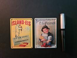 2 Mini-Blechreklameschilder Island Eis Und Metzger Nürnberger Lebkuchen (neu) - Plaques En Tôle (après 1960)
