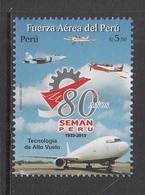 2013 Peru Air Force Aviation Military Complete Set Of 1  MNH - Perù