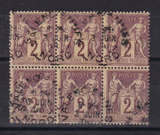 D 162 / SAGE N° 85 OBL / BLOC DE 6 COTE 40€ - 1876-1898 Sage (Tipo II)