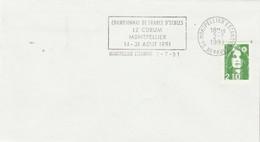 Jeux échecs -  Enveloppe Cachet Flamme Championnat De France D' Echecs MONTPELLIER Hérault 2/7/1991 - Chess