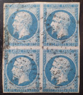 R1680/666 - NAPOLEON III N°14A Bleu (BLOC) - GC 3484 : VANNES (Morbihan) - Cote (2020) : 100,00 € - 1853-1860 Napoleon III