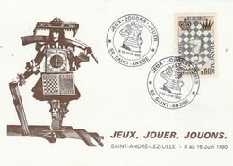 Jeux échecs - Carte Cachet Illustré Jeux Jouons Jouez ST ANDRE Lez Lille Nord Juin 1990 - 2 Scan - Echecs