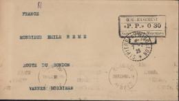 Port Payé Gouvernement P.P 0 30 St Pierre Et Miquelon CAD Perlé 7 7 1926 Arrivée Flamme Vannes Morbihan 29 7 26 - Covers & Documents