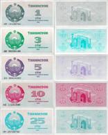 Uzbekistan 1992 - Set 5 Pcs 1+3+5+10+25 Sum - Pick 61-65 UNC - Uzbekistan