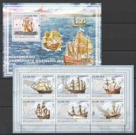 XX627 2009 MOCAMBIQUE SHIPS HISTORIA DO TRANSPORTE MARITIMO 2 1SH+1BL MNH - Ships