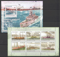 XX630 2009 MOCAMBIQUE SHIPS HISTORIA DO TRANSPORTE MARITIMO 4 1SH+1BL MNH - Ships