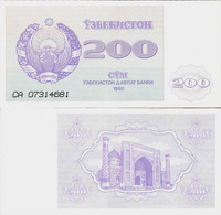 Uzbekistan 1992 - 200 Sum - Pick 68 UNC - Uzbekistan