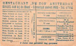 "Restaurant ""De Zon"" Amsterdam / Postcard  1930s - Menus"
