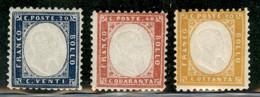 Regno - Vittorio Emanuele II - 1862 - Vittorio Emanuele II (2/4) - Insieme Di 3 Valori - Gomma Integra - Non Classificati